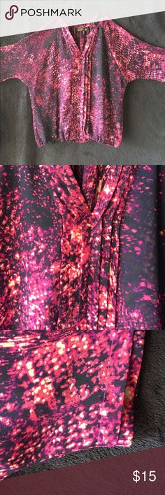 NWOT a.n.a Galaxy Speckled 3/4 length sheer top Petite Large fits like a regular MEDIUM. Beautiful colored draping top with just enough sheerness peeking through. 3/4 or a little less sleeves with matching folded details down the front and the edge of the shirt sleeves. The second and third pictures are a much better representation of the color in daylight. a.n.a Tops Blouses