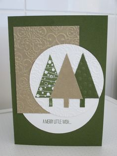 Christmas Card - using Stampin' Up Festival of Trees, Tree Punch, Lacey Brocade Embossing Folder and Mossy Meadow Cardstock