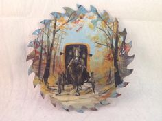 Amish Sawblade Art Horse Buggy Driver Autumn Trees Leaves.