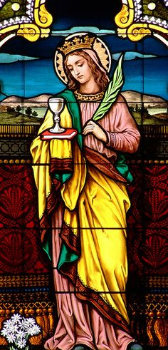 Stained Glass in St. Mary's Catholic Church in Altus, ARKANSAS - USA...