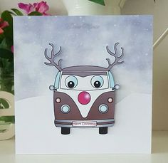 A fun Christmas card with a reindeer camper van, drawn by my husband.