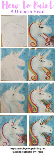 How To Paint A Unicorn – Step By Step Painting. Tracie's Acrylic Painting Tutori… How To Paint A Unicorn – Step By Step Painting. Tracie's Acrylic Painting Tutorials. Learn how to draw and paint a unicorn. Easy, simple, fun for beginners. Unicorn Head, Rainbow Unicorn, Unicorn Run, Unicorn Party, Acrylic Painting Tutorials, Diy Painting, Painting Techniques, Summer Painting, Rainbow Painting