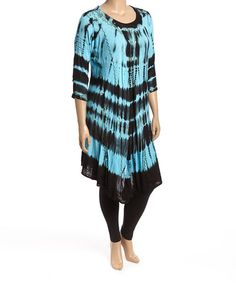 This Black & Blue Tie-Dye Kaftan Tunic - Plus is perfect! #zulilyfinds