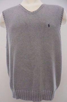 Polo Ralph Lauren Knit Sweater Vest 2XL XXL Gray Mens Men Sz Size Pony Logo Man* #PoloRalphLauren #Vest