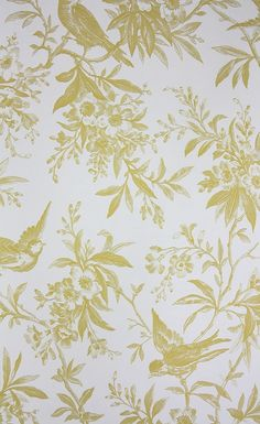 Chelsea Morning Toile Wallpaper A toile wallpaper featuring birds amongst flowering branches in yellow on white.