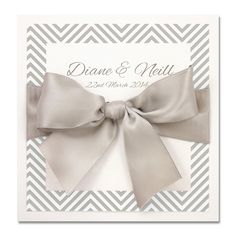 Grey Chevrons Layered Square with Satin Bow