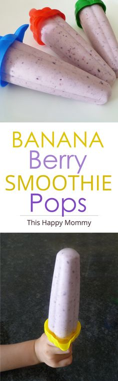 Banana Berry Smoothie Pops -- Stay cool all summer long with this four-ingredient, smoothie style popsicle.   thishappymommy.com