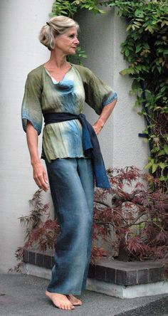 Blouse linen gauze and linen, hand-dyed,  sage and clouds    love this soft relaxed look-- for work at home