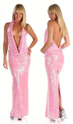 Sexy Baby Pink Cowl Neck Sequin Prom/ Evening Dress