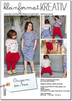 and origami pants also for the little one!