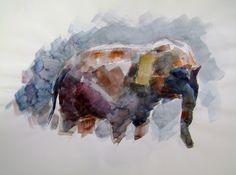 Elephant watercolor study by StuartKimbrell