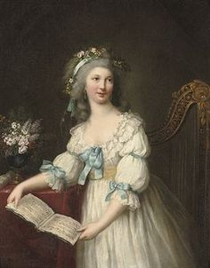 Portrait of Marie-Françoise Dumesnil (1713-1803), three-quarter-length, in a white dress with blue ribbons and a yellow sash.CIRCLE OF MARIE-VICTOIRE LEMOINE (PARIS 1754-1820)