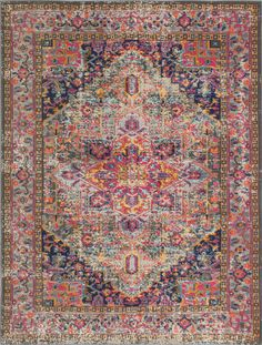 Mistana Blackwell Multi-Colored Area Rug Rug Size: x Pink And Blue Rug, Blue Gold, Transitional Rugs, Saturated Color, Queen, Rugs Online, Carpet Runner, Vintage Patterns, Blue Area Rugs