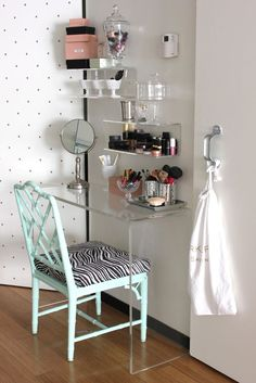Furniture, Saving Very Small Bedroom Spaces With Corner Clear Acrylic Console… More