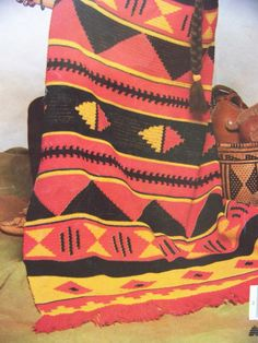 Attractive Southwest Native American Indian Crochet Blanket Afghan Pattern
