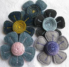 Wooly Felt Flowers by kayla coo, via Flickr