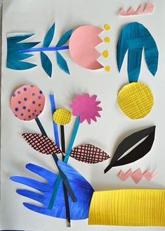 Make a flower collage composition out of painted sheets of paper Arts And Crafts For Teens, Art And Craft Videos, Easy Arts And Crafts, Arts And Crafts House, Art For Kids, Crafts For Kids, Kids Fun, Kids Collage, Shape Collage