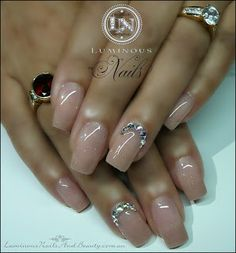 Luminous Nails: Natural Nude Nails with a little Glitter & Bling.....