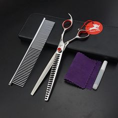 80 inches high quality professional pet grooming scissorschunkersthinning scissors50 thinning ratedog scissors setwith bearing bolt23 teeth440 C -- To view further for this item, visit the image link. (Note:Amazon affiliate link)