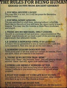 Poems About Life Lessons | Rules for Being Human