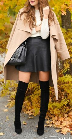 Leather mini + suede boot.