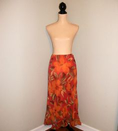 Orange Floral Skirt Size 14 Large Skirt Hawaiian Skirt Luau Clothing Tropical Clothing Cover Up Summer Skirt FREE SHIPPING Womens Clothing
