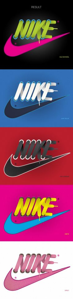 The famous Nike logo, but with a twist. The designer made a creative edit of the logo by shaping the Nike text with shoe laces. The overall design and arrangement creatively reflects Nike's brand and product. Web Design, Design Typo, Typography Design, Design Art, Logo Design, Nike Design, Typography Served, Typography Prints, Lettering
