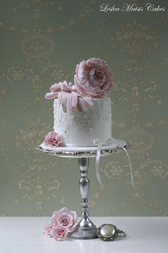 Pink peony with vintage gloves | by Leslea Matsis Cakes