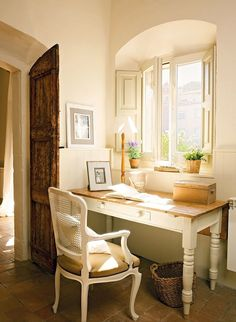 French Country Home Office. Sherwin Williams Concord Buff paint color, Mission split 8x4 tumbled clay pavers from Home Depot, Pottery Barn desk, chair from Restoration Hardware