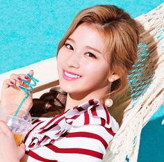 """SANA - stringing it out on a hammock- with a curly blue straw. TWICE, members of """"Happy Happy"""", personal photo published-AMx Nayeon, South Korean Girls, Korean Girl Groups, Twice Members Profile, Twice Chaeyoung, Sana Cute, Twice Tzuyu, Twice Korean, Queens"""