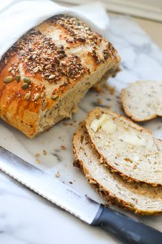 Seedy Artisan Bread (bread flour, honey, oatmeal, flax, all-purpose flour,salt, egg, mixed seeds (pumpkin seeds, sunflower seeds, sesame seeds and flax seeds)