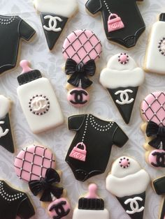 Pink Black & White Designer inspired Baby Shower Cookies
