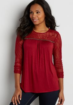 top with lace yoke and sleeves with beading On my wish list #wishpinwinsweepstakes #discovermaurices.