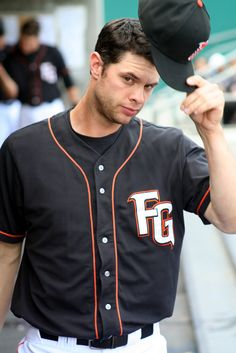 "04/24/11.  A tip of the cap from Fresno Grizzly BRANDON BELT.  (Photo by Dave Nelson in a game featuring the Fresno Grizzlies and Reno Aces).  It's always kinda cool to see what the players looked like ""before they were stars""!  Brandon?  Well, he looks as awkward as ever...  LOL"