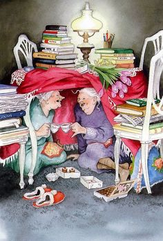 Afternoon of books, tea and cakes.  Illustration by Inge Löök (Love this one!)