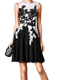 LovingDress Women's Homecoming Dress Lace Scoop with Sash A Line Cocktail Dress Size 2 US Black