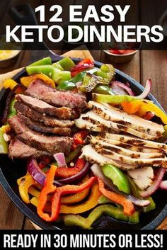 Looking for quick and easy keto dinner recipes? Check out this collection of ketogenic dinners you can make in 30 minutes or less! Whether you're looking for low carb chicken, fish, or shrimp or keto friendly beef, pork, steak, or hamburger you'll find a quick and easy keto meal on this list! #ketorecipes #keto #ketodiet #ketogenic