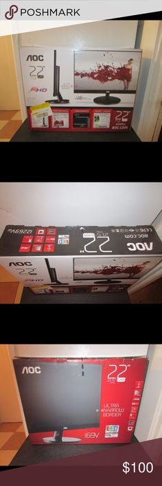 """AOC 22"""" MONITOR * NEW IN BOX * BRAND NEW IN BOX; AOC 22"""" MONITOR. BOUGHT IT TO USE AND ITS BEEN SITTING IN CLOSET. PLEASE FEEL FREE TO ASK ANY QUESTIONS YOU MAY HAVE AND I WILL REPLY WITHIN 48 HOURS. THE BEST DEALS ARE BUNDLED SO LOOK AROUND MY CLOSET AND HAPPY SHOPPING! AOC Other"""