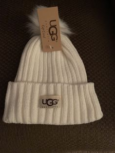 9068dbb282cc UGG Womens Winter White Solid Ribbed Beanie Hat With Pom Pom #fashion # clothing #