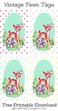 Hang Tags: Adorable Vintage Fawn Printables - Free Pretty Things For You