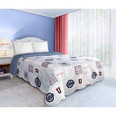 Biele prehozy obojstranné na posteľ s cestovateľským motívom