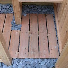 Outdoor Shower Kit - Cedar Decking / Flooring with Beach Pebbles - wash off after swim in pool or at beach