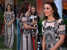"For a party celebrating the Queen's 90th birthday at the High Commissioner's New Delhi residence, the Duchess opted for separates by Temperley London. The Delphia cropped top and skirt both featured ""opulent embroidery motifs of Indian Chintz and lattice."" ©Nunn Syndication, Polaris / i-Images / Nunn Syndication, Polaris"