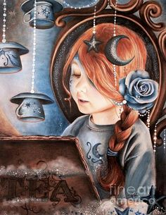 Tea, Tea Party, Child, Art, Artist, #popsurrealism #PanPastels, ColoredPencil, Drawing, Child, Portrait, moonlight, stars, read, book, magic, reading, clouds, beads, redhead, Tea cup, Rose, Blue, Pretty, Girl,www.facebook.com/... By: Sheena Pike ~ ART ~ girl portrait This piece can be purchased on my website...please visit! sheena-pike.artis... and thank you for the Pin...I appreciate the exposure. (copyright of SheenaPikeArt )