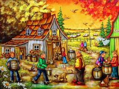 Solve Guys Weekend jigsaw puzzle online with 374 pieces Painting Inspiration, Color Inspiration, Best Jigsaw, Country Scenes, Folk, Country Art, Autumn Art, Canadian Artists, Oeuvre D'art