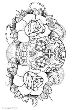 Sugar Skull Coloring Book For Adults Skull Coloring Pages, Detailed Coloring Pages, Love Coloring Pages, Printable Adult Coloring Pages, Fairy Coloring, Mandala Coloring Pages, Coloring Books, Adult Colouring In, Colouring Pages For Adults