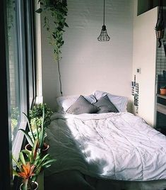 You don't need the most extravagant set up to have a gorgeous bedroom space. Add some greenery to your room to make an inviting, and lively space.