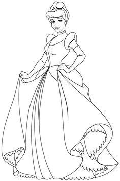 Free Coloring Pages Disney Princess Cinderella For Girls & Boys #                                                                                                                                                                                 More