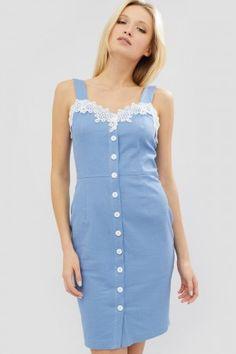 Сукня «Авідо» блакитного кольору – ніжний приталений сарафан с гудзиками  спереду на планці та 34e53284a8420