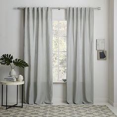 Belgian Flax Linen Curtain - Platinum #westelm I found this nice light grey linen.